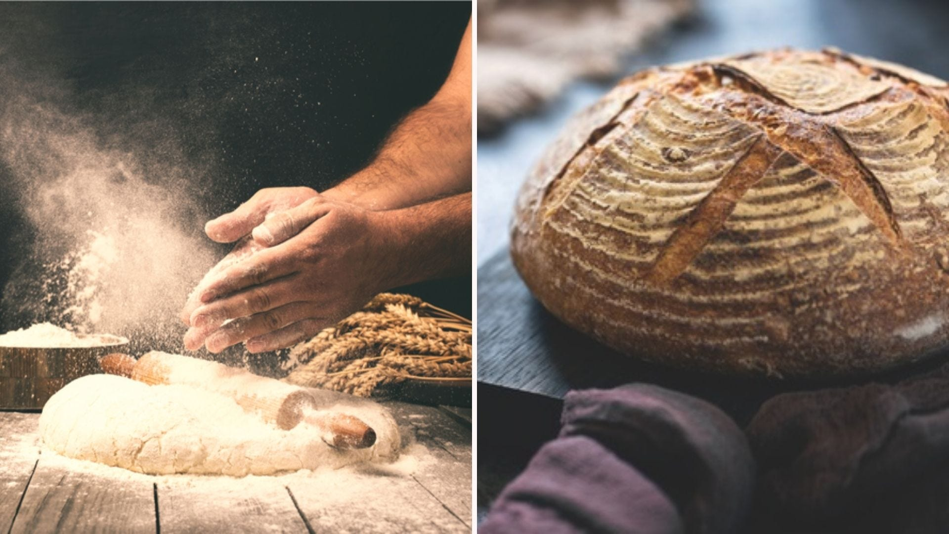 Someone from an Online Baking Academy course clapping their hands to sprinkle flour over fresh dough, and a loaf of scored sourdough.