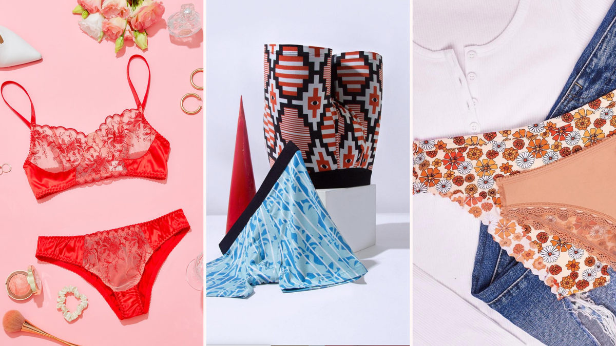 A red lingerie set, two pairs of men's boxers, and two pairs of women's underwear.