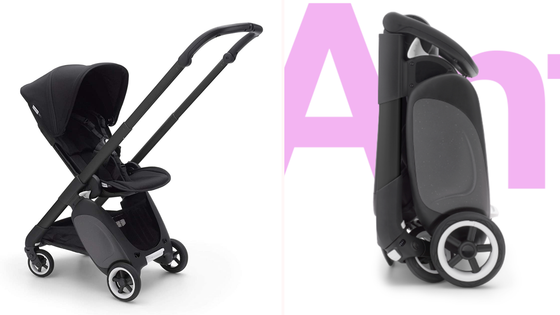 A Bugaboo Ant stroller in the open and closed positions.