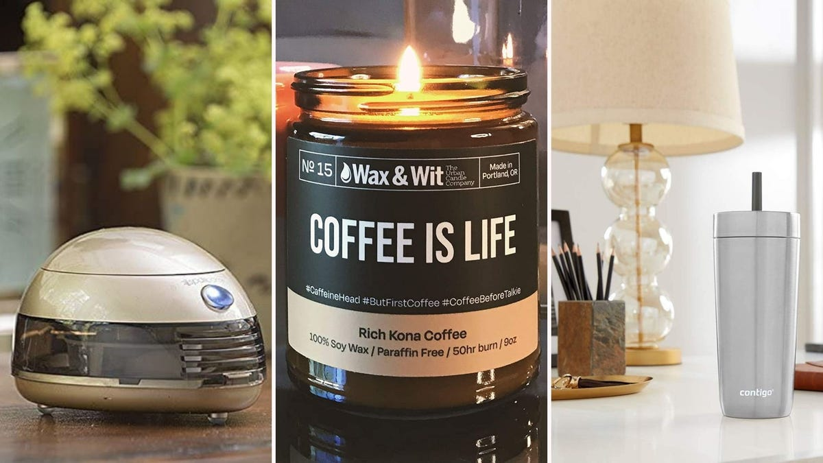 Aromatherapy diffuser, candle, spill-proof tumbler.