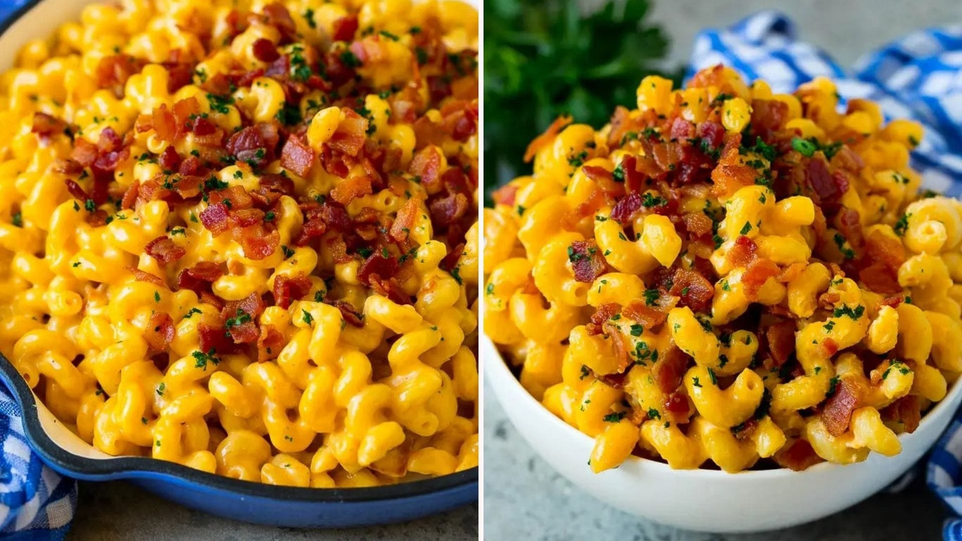 A casserole dish full of bacon mac and cheese and a bowl full of it.