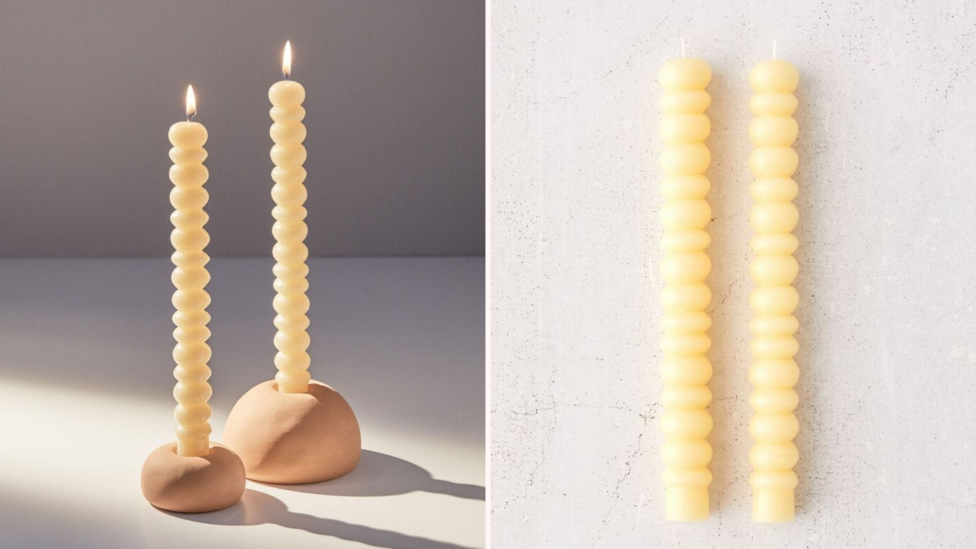 Side-by-side images of cream-colored bubble taper candles.