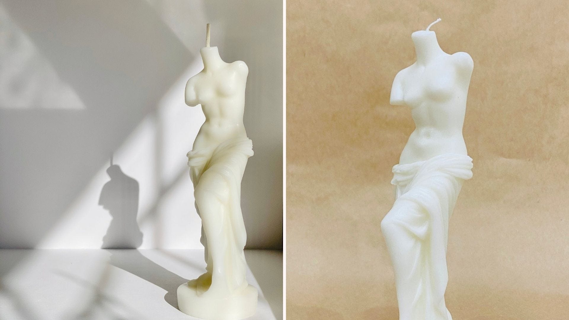 Side-by-side images of a white Venus statue candle.