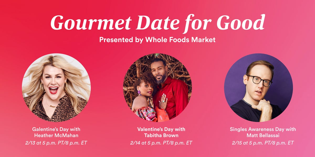 """The """"Gourmet Date for Good"""" cooking class schedule with pictures of all the hosts."""