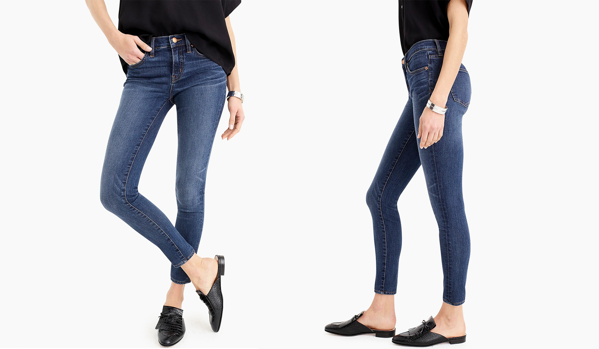 Front and side views of a woman wearing the Petite Toothpick jeans.