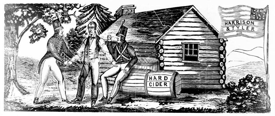 An 1840 woodcut for the Harrison & Tyler presidential campaign.