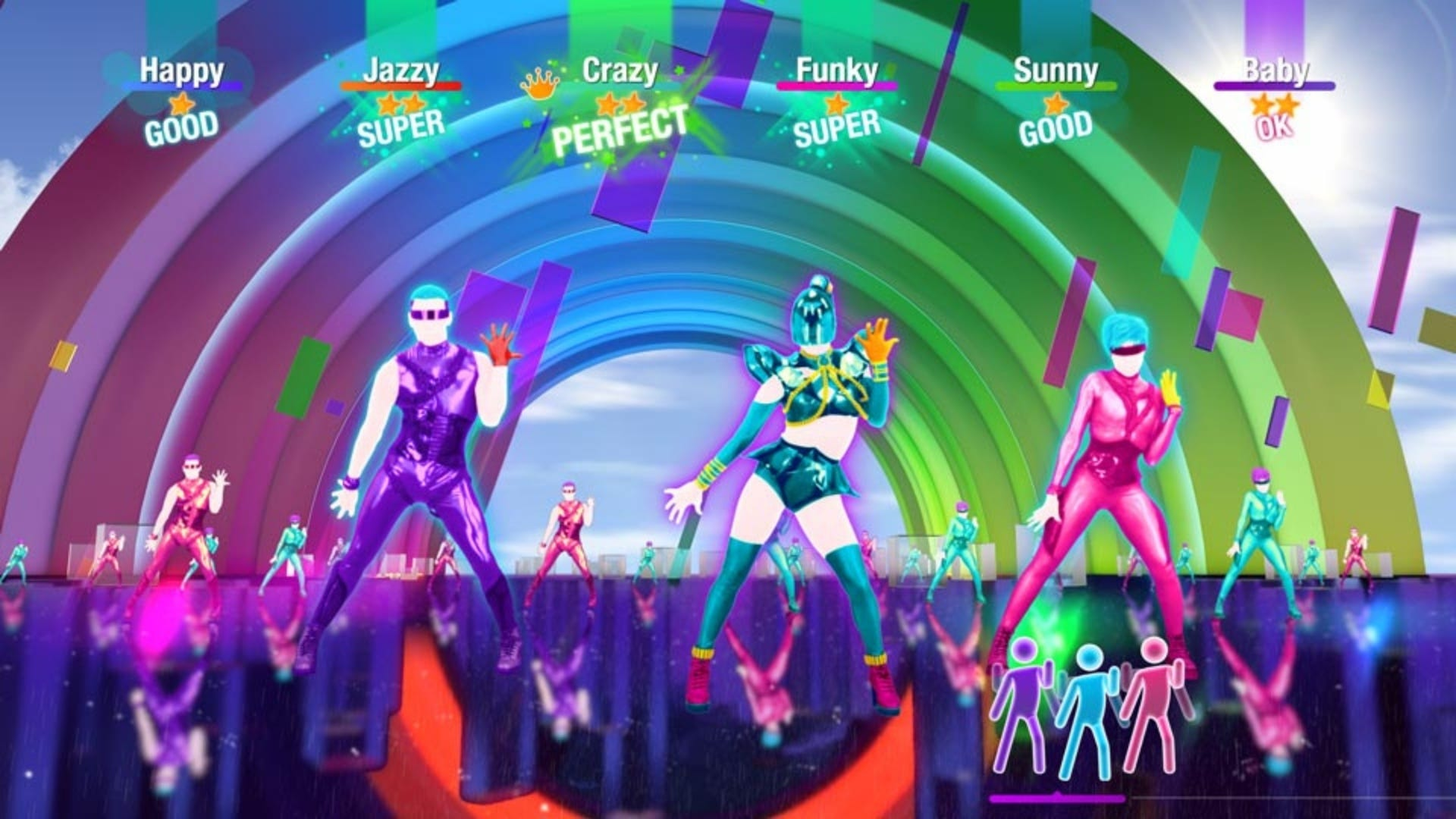 """A bunch of characters dancing in """"Just Dance."""""""
