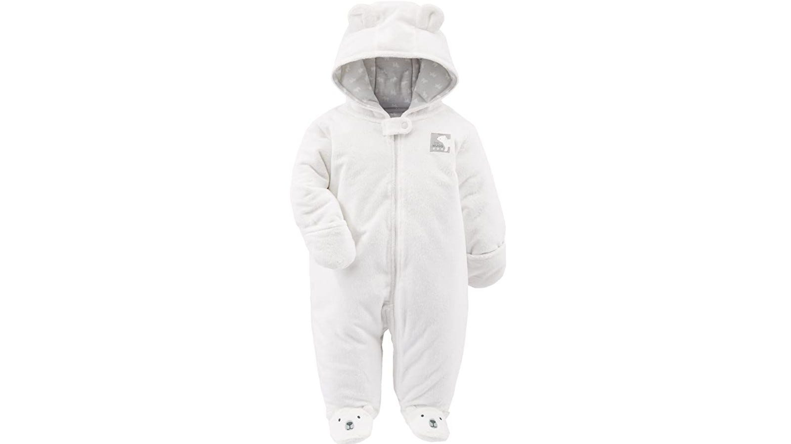 fuzzy white baby jumpsuit