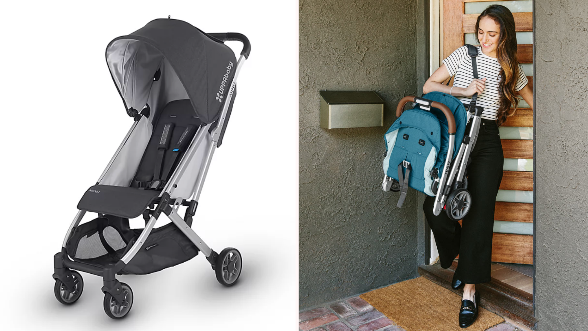A woman carrying a UppaBaby compact stroller.