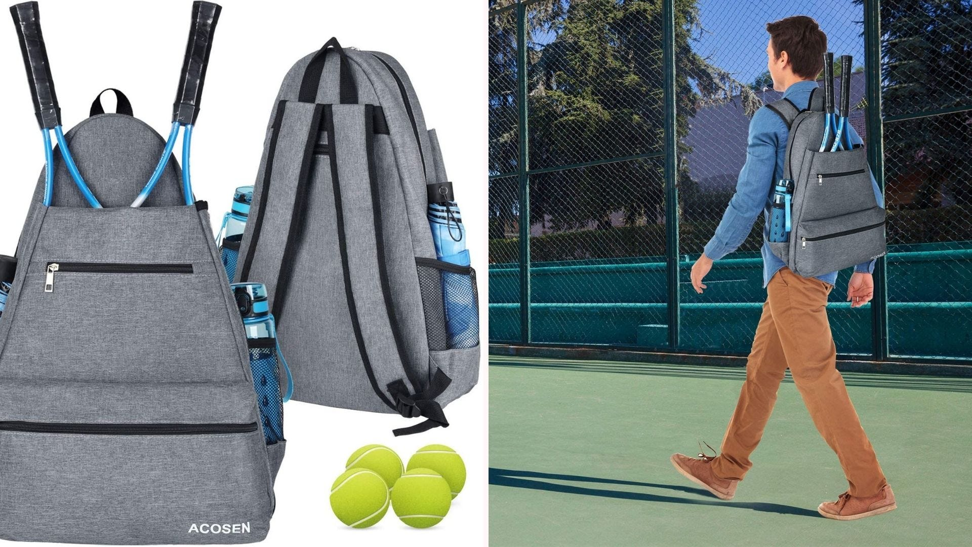 Two ACOSEN Tennis Backpacks in Gray with rackets sticking out of one, and a young man at a tennis court carrying the bag.