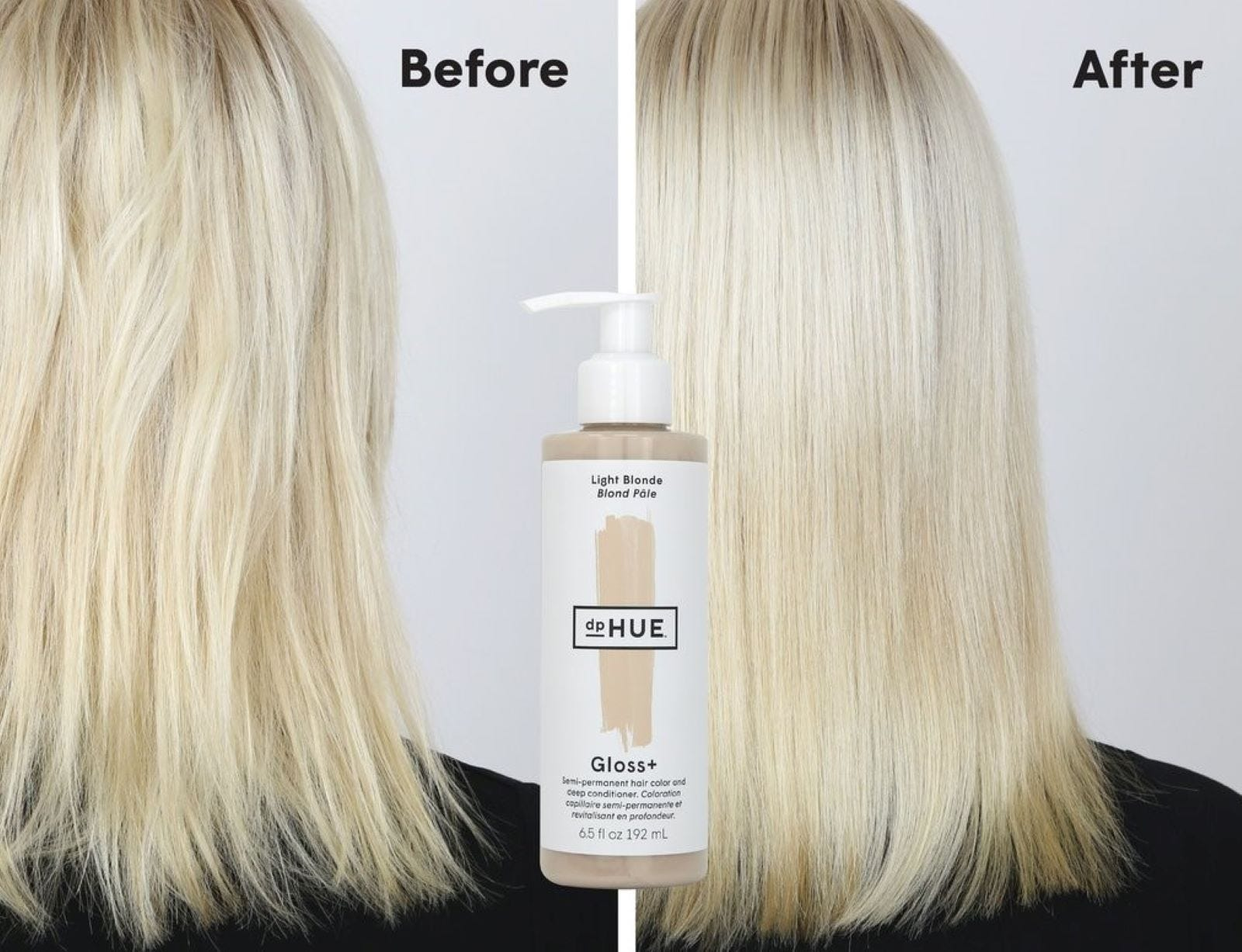 Before and after comparison of a woman's blonde hair with a bottle of Light Blonde dpHUE Gloss+ in the middle.