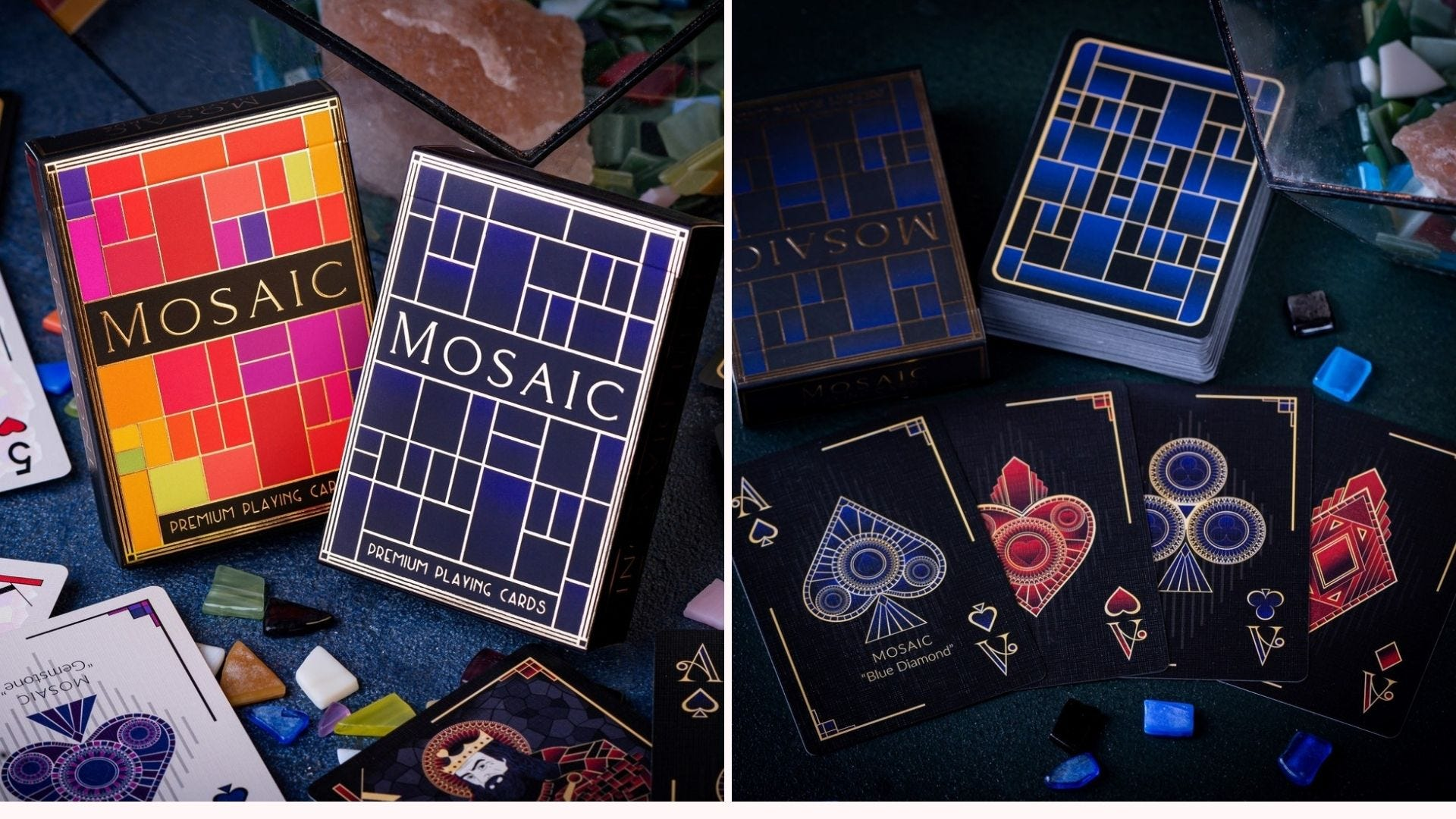Images of the Mosaic card deck from Elephant Playing Cards.