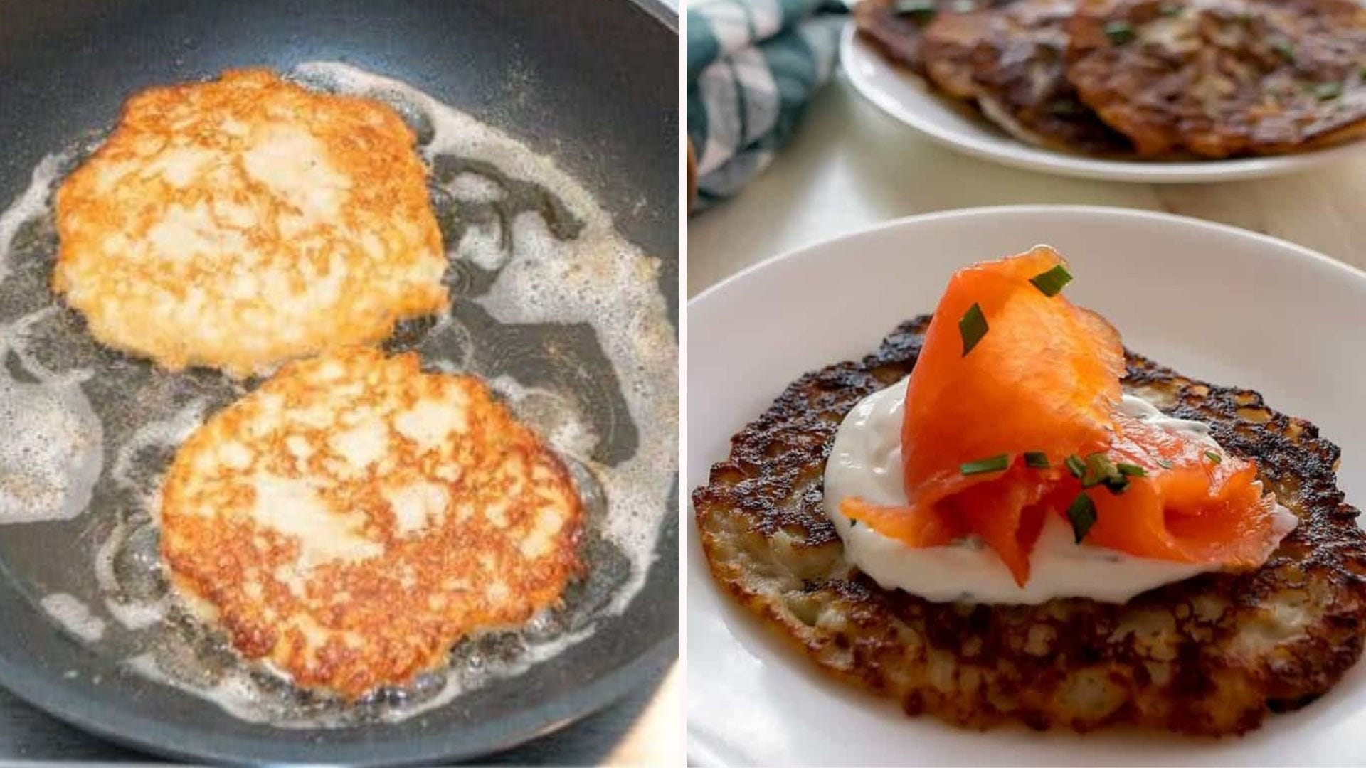 Irish Boxty frying in a skillet with oil, and a plated Boxty with sour cream sauce and smoked salmon on top.