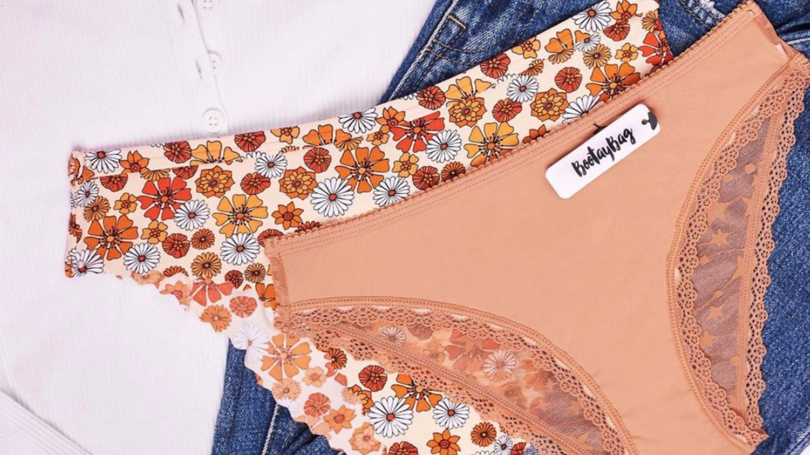 Two pairs of floral print and lace underwear.