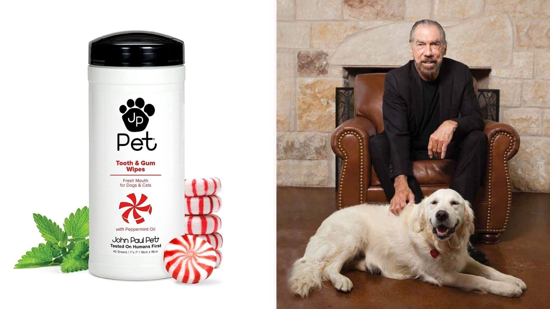 John Paul Pets dental wipes and John Paul with his dog.