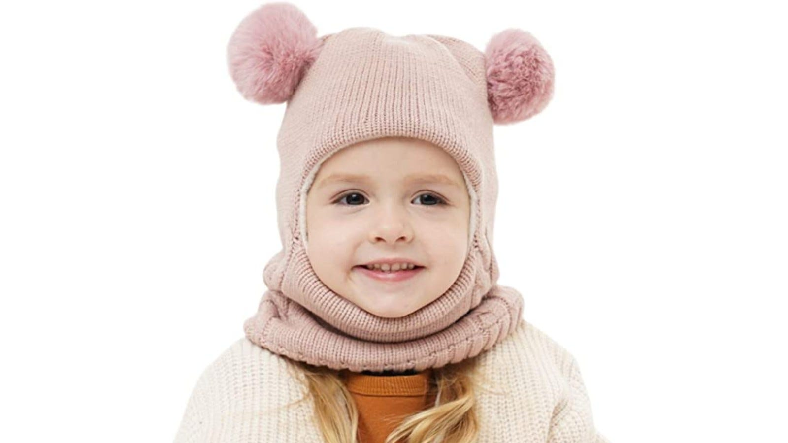 toddler girl in pink balaclava
