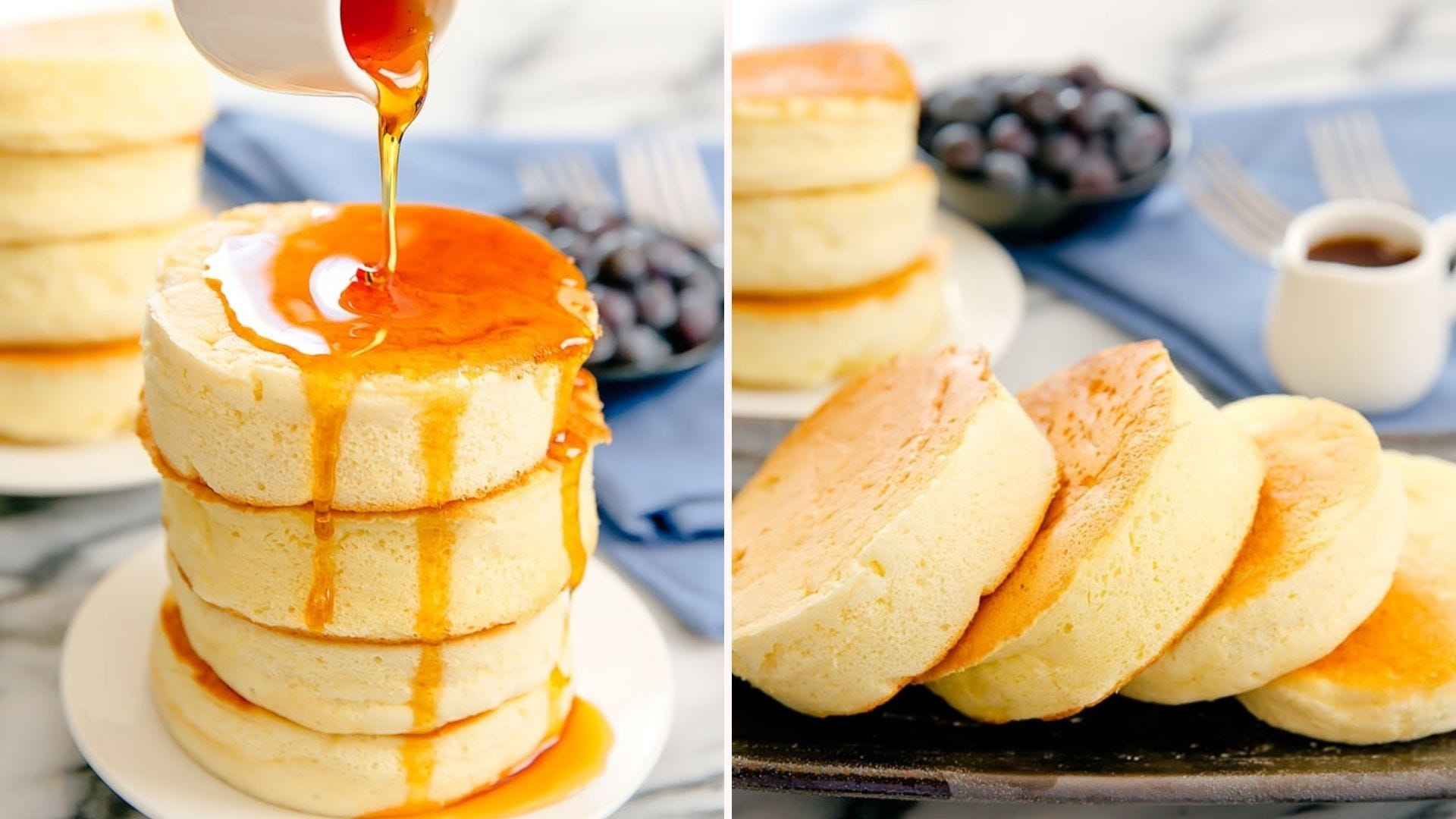 Syrup being drizzled on a stack of Japanese Soufflé Pancakes and four of them next to some berries and a pitcher of syrup.