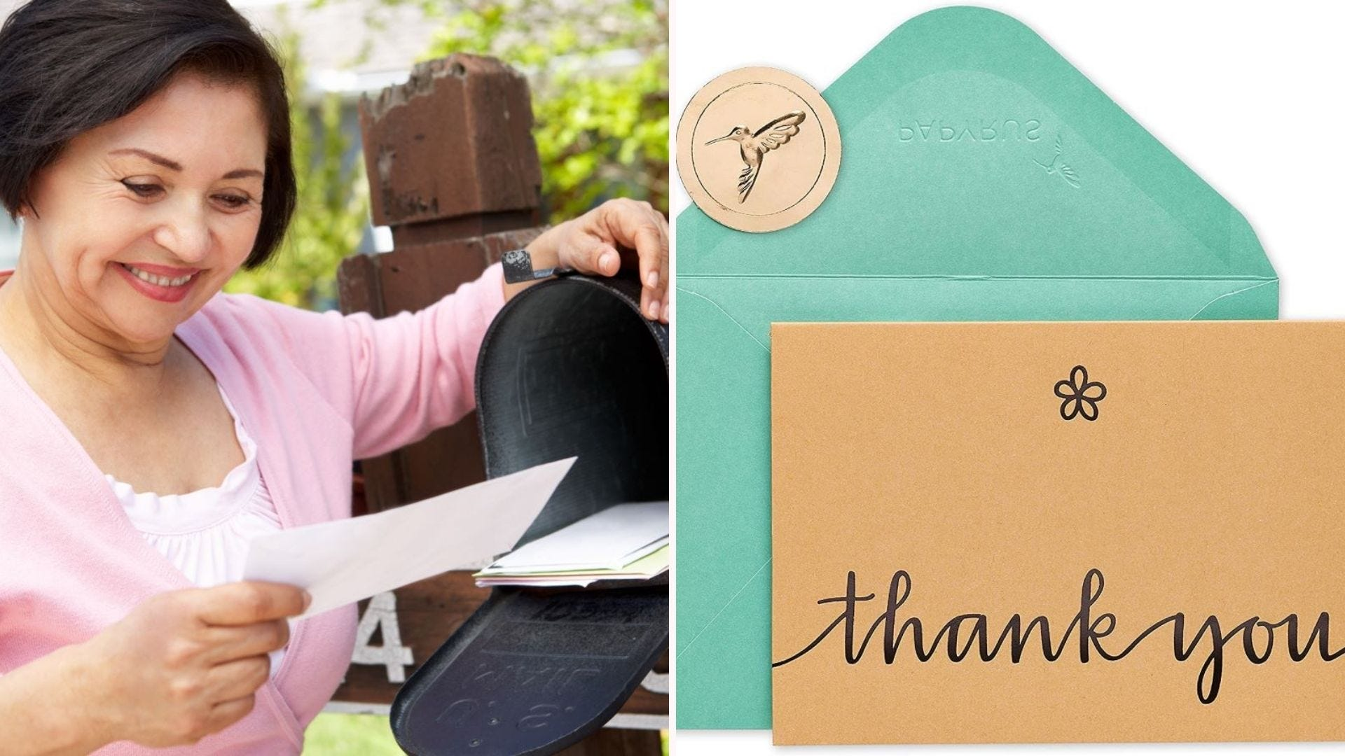 A smiling woman reading a Thank You card at a mailbox.