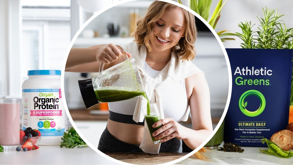 A bottle of Orgain Organic Protein powder on a counter, a woman pouring a smoothie, and bag of Athletic Greens powder.