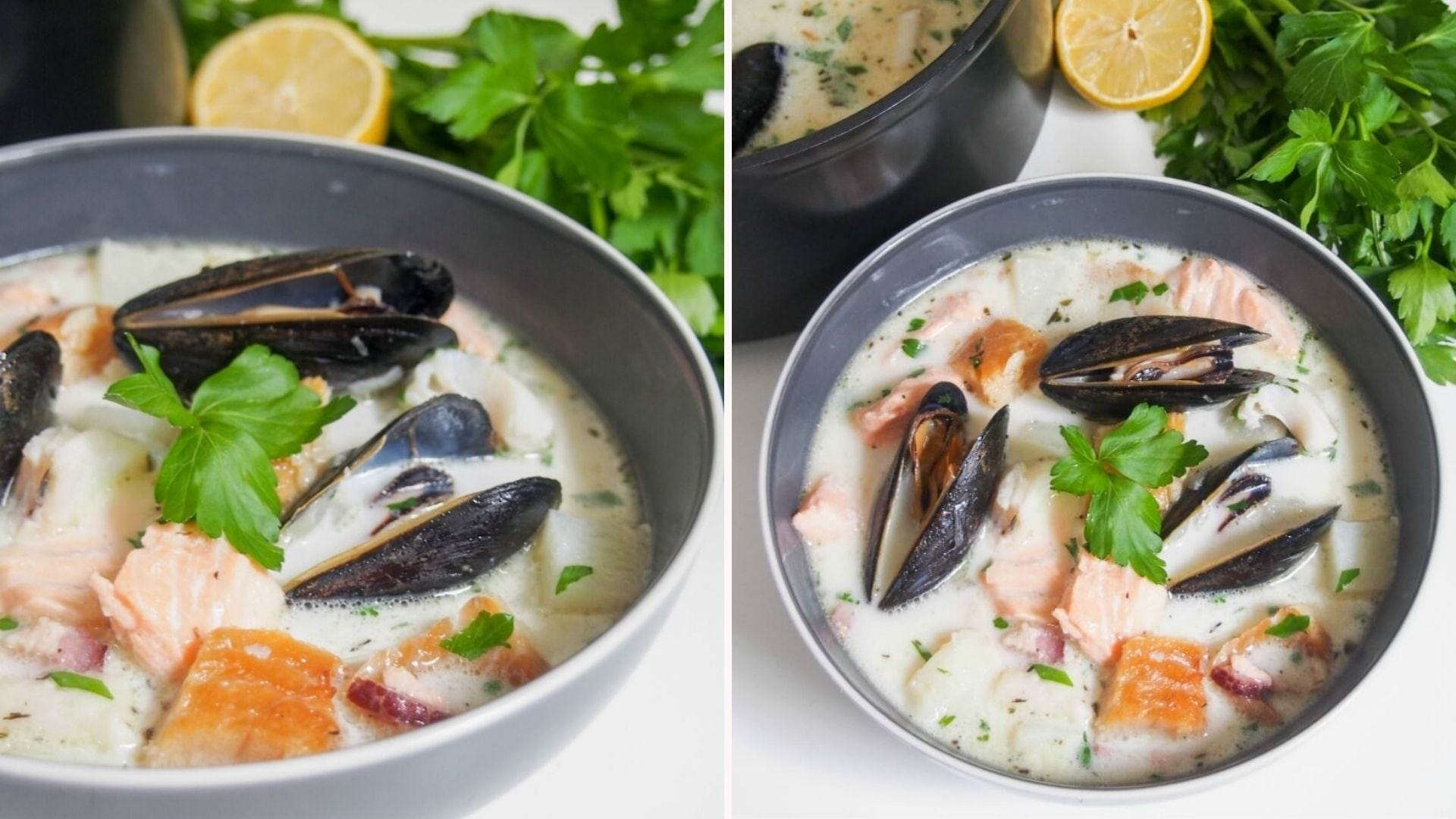 Two bowls of Irish Fish Chowder filled with salmon, muscles, potatoes, and bacon, with lemon and parsley on the side.