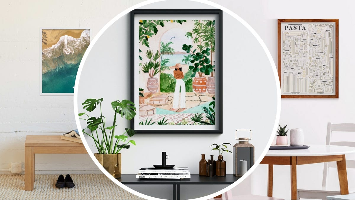 Examples of three different living rooms with unique and interesting artwork on the wall.