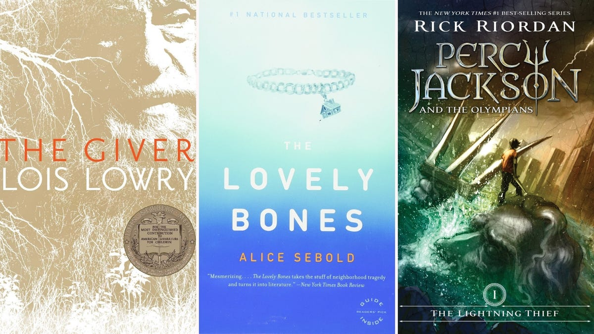 Books covers of The Giver, The Lovely Bones, and The Lightning Thief