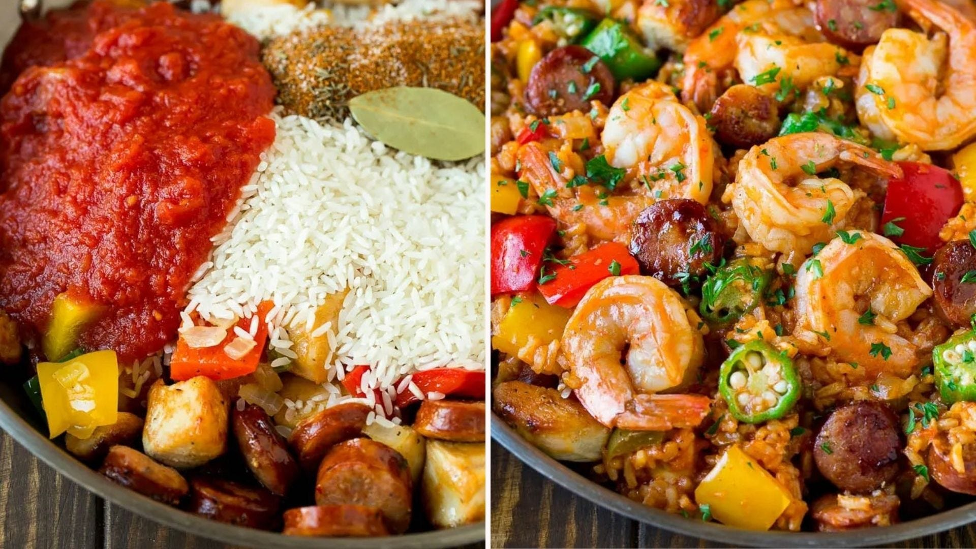 All the jambalaya ingredients in a skillet, and a plate full of the finished dish.