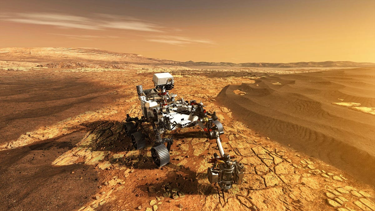 Mars Rover Perseverance exploring the Red Planet.