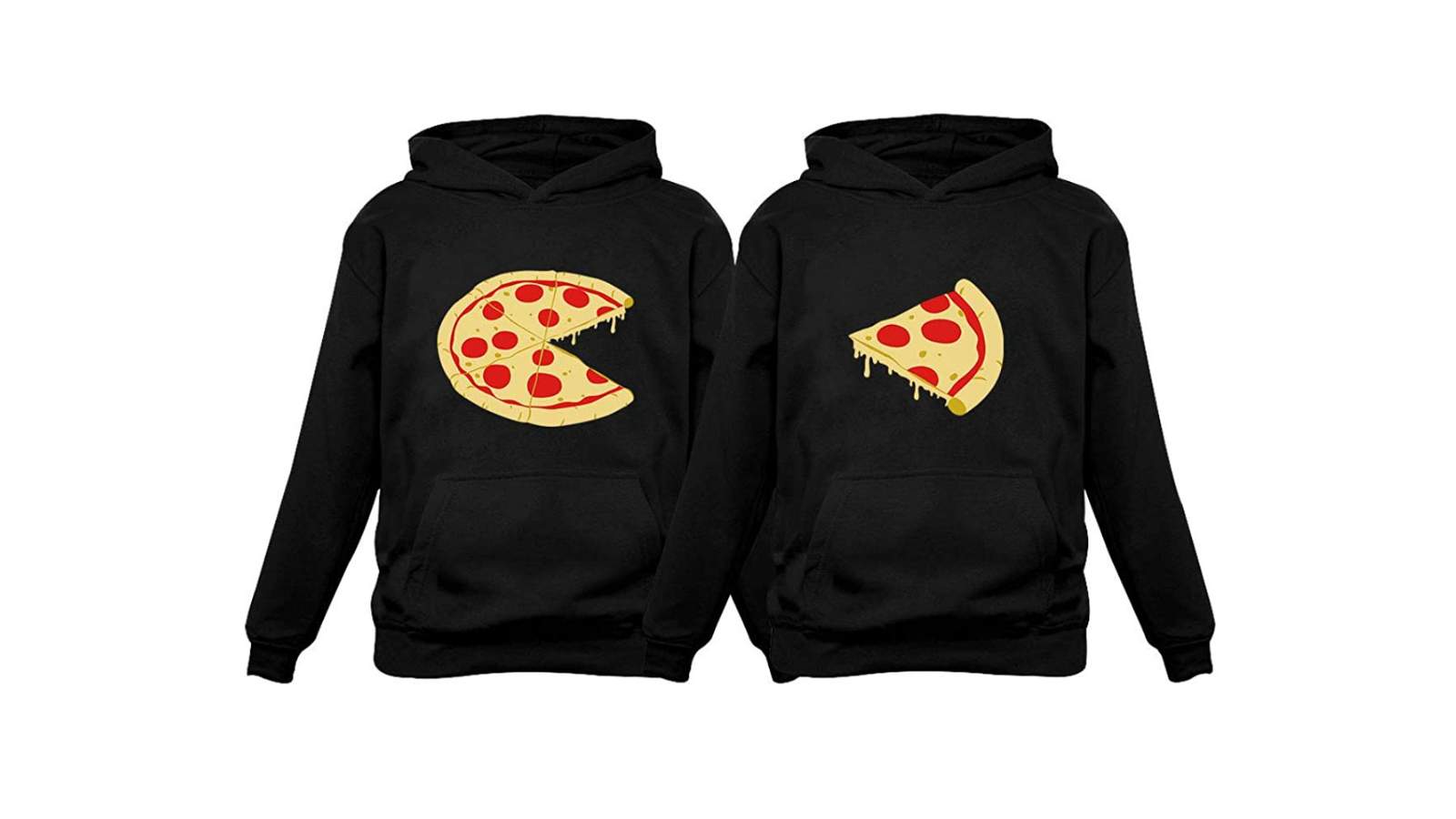 Matching black hoodies with pizza.