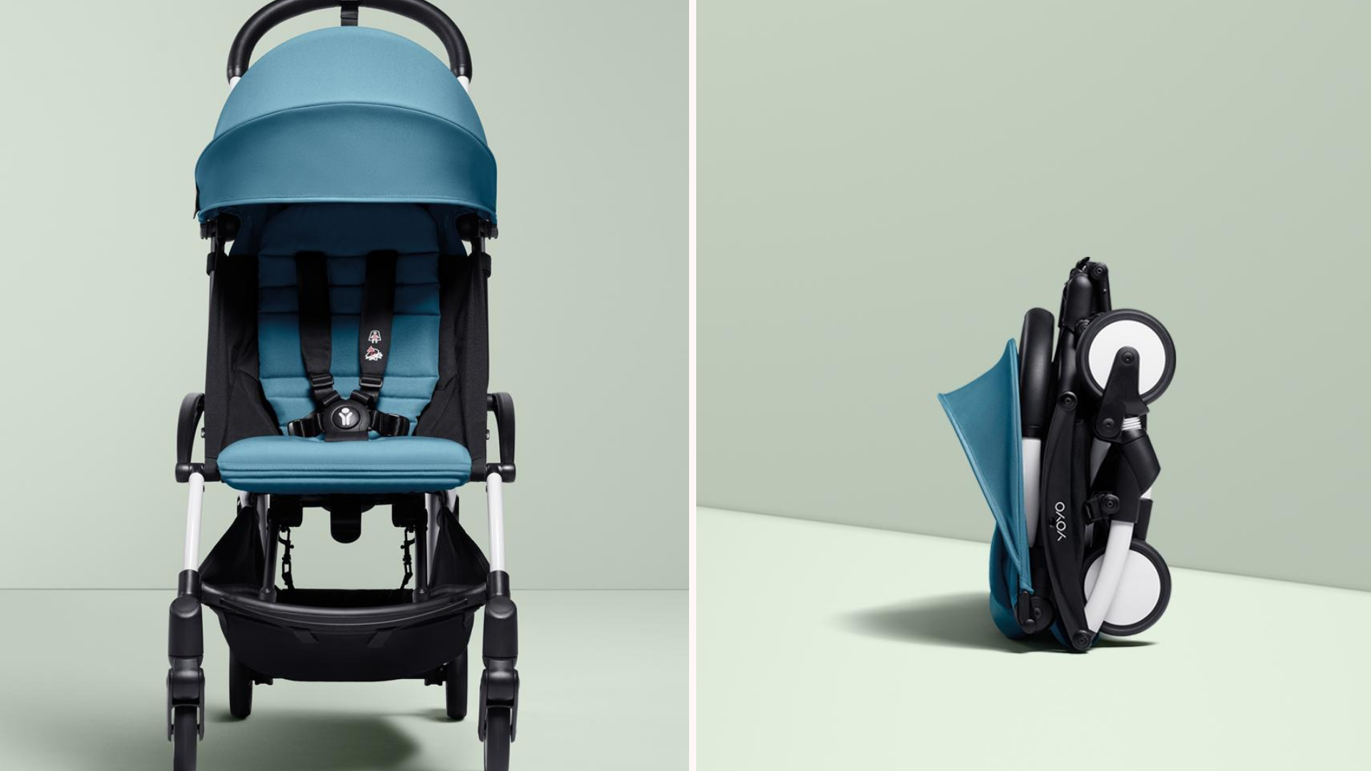 A Babyzen folding stroller in the open and closed positions.