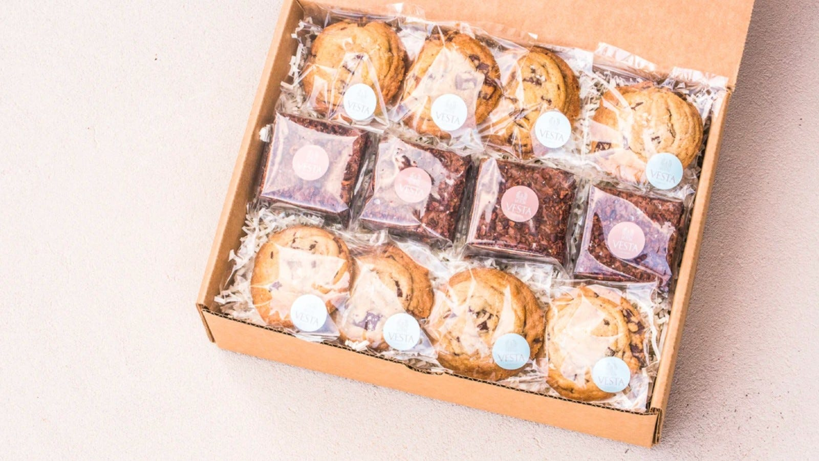 a box of brownies and cookies