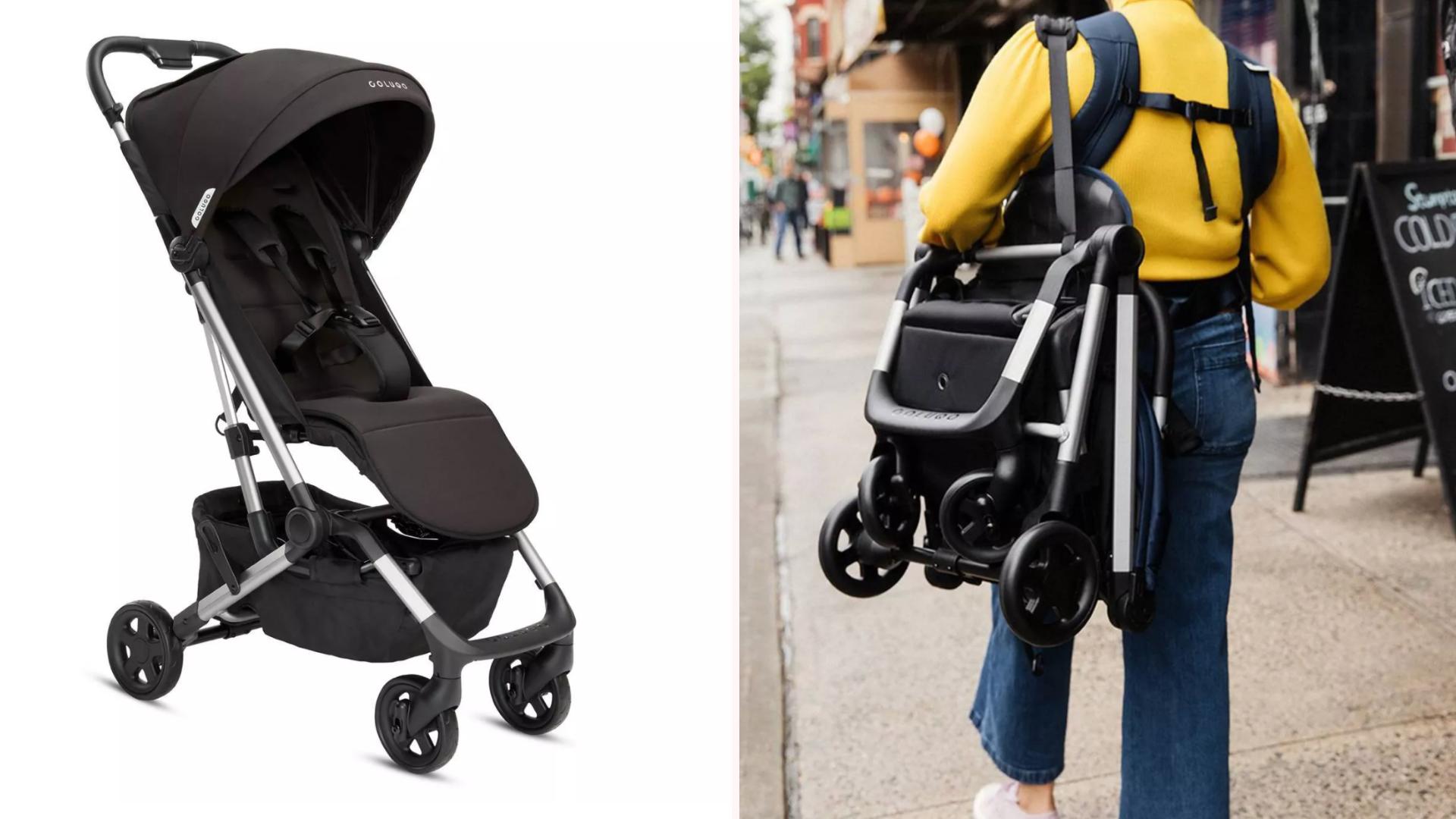A mother carrying a black Colugo stroller over her shoulder.