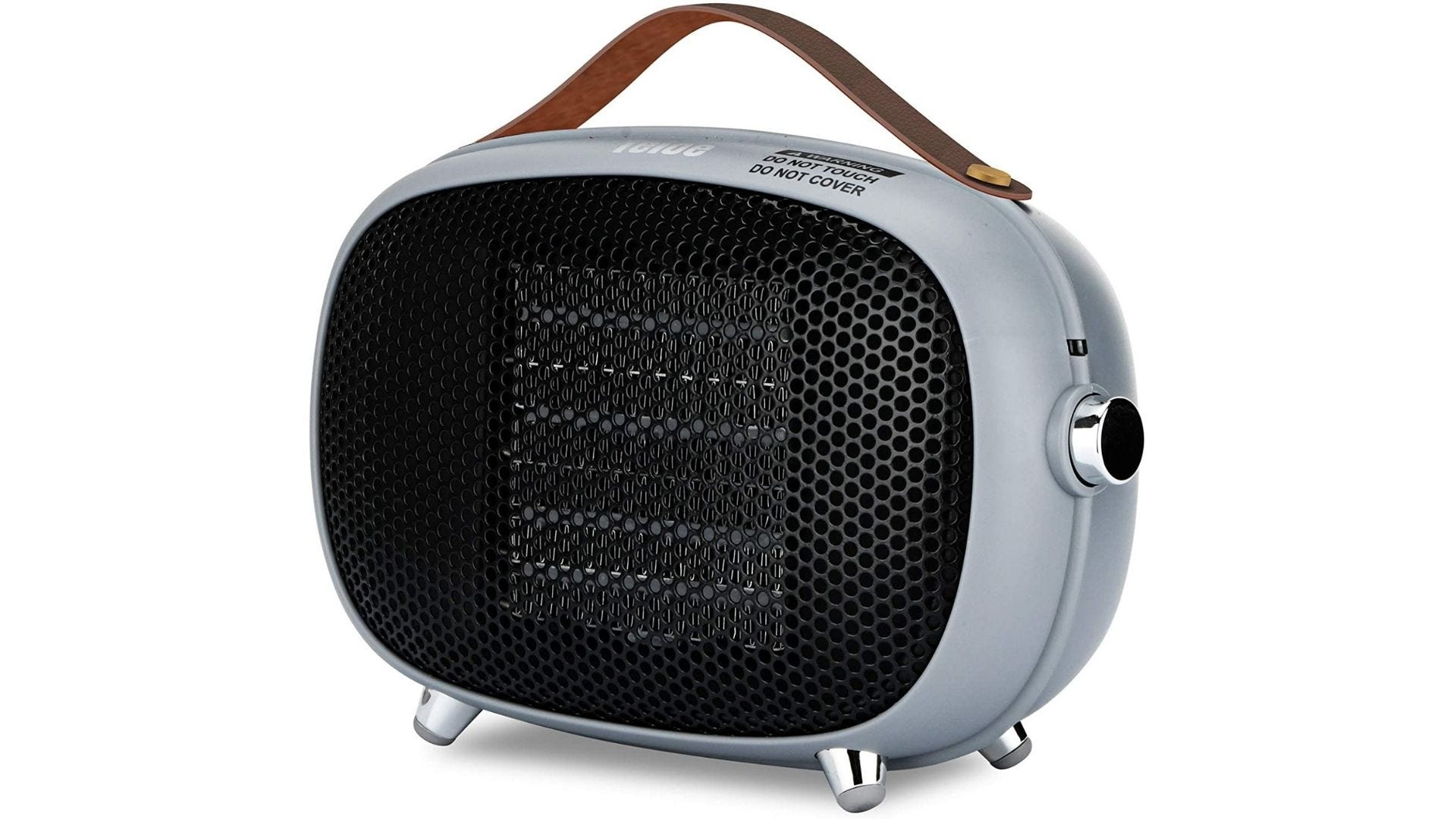 Cute space heater with a handy carry strap.
