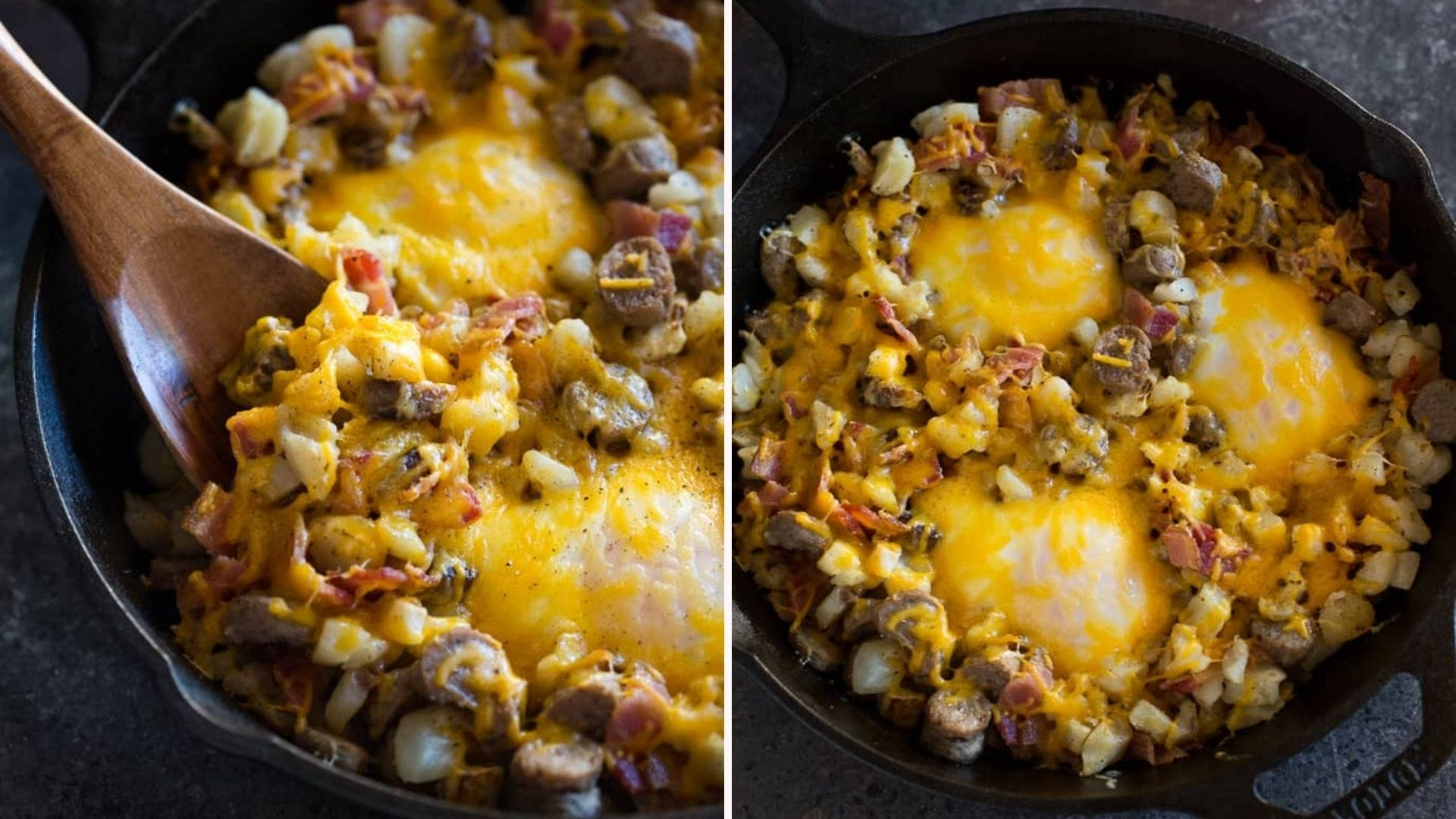 A breakfast skillet full of hash-brown casserole with melted cheddar.