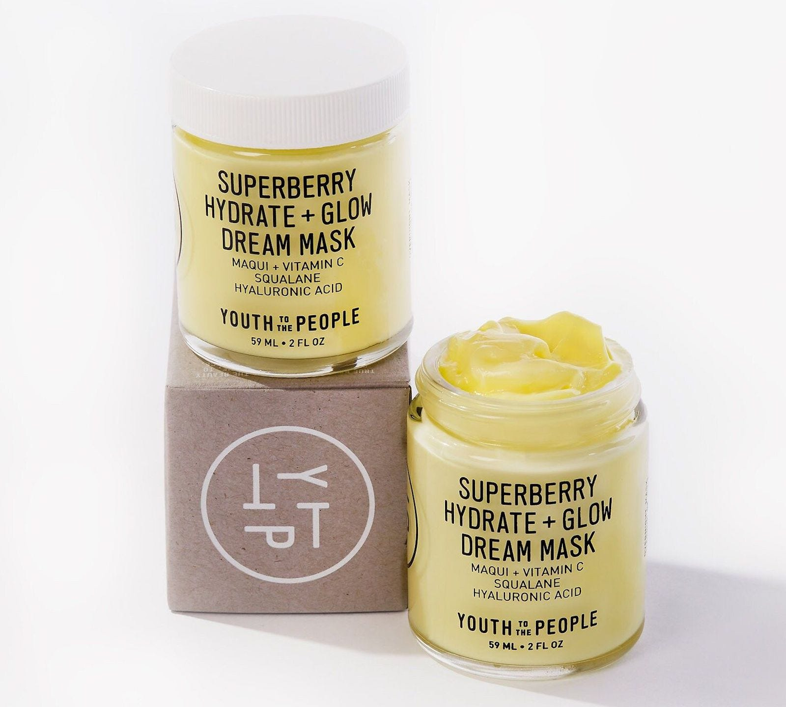 Two jars of SuperBerry Hydrate + Glow Dream Mask.