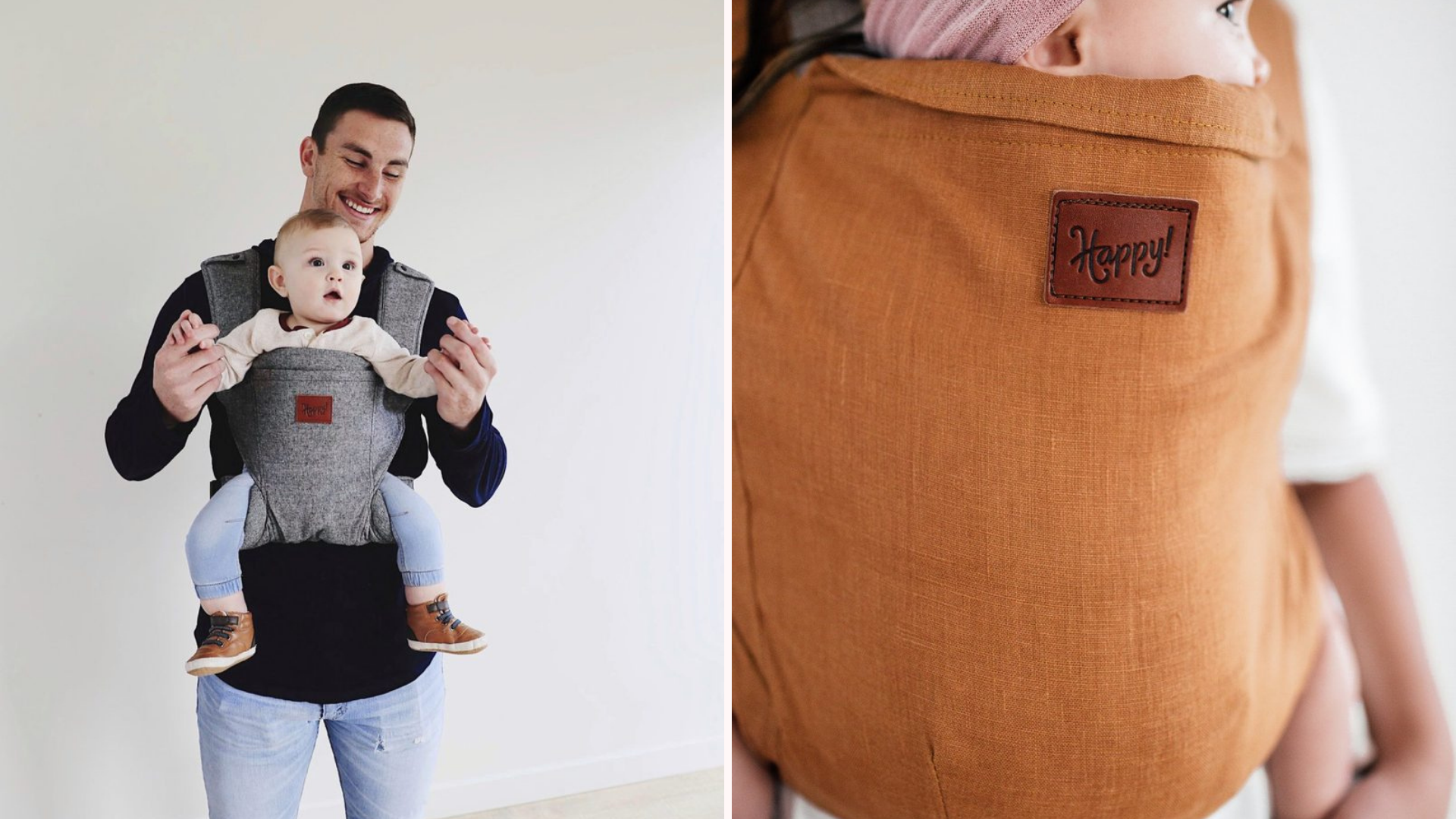 Man carrying a child in the Happy! baby carrier and a close up of the Happy! product label on the carrier.