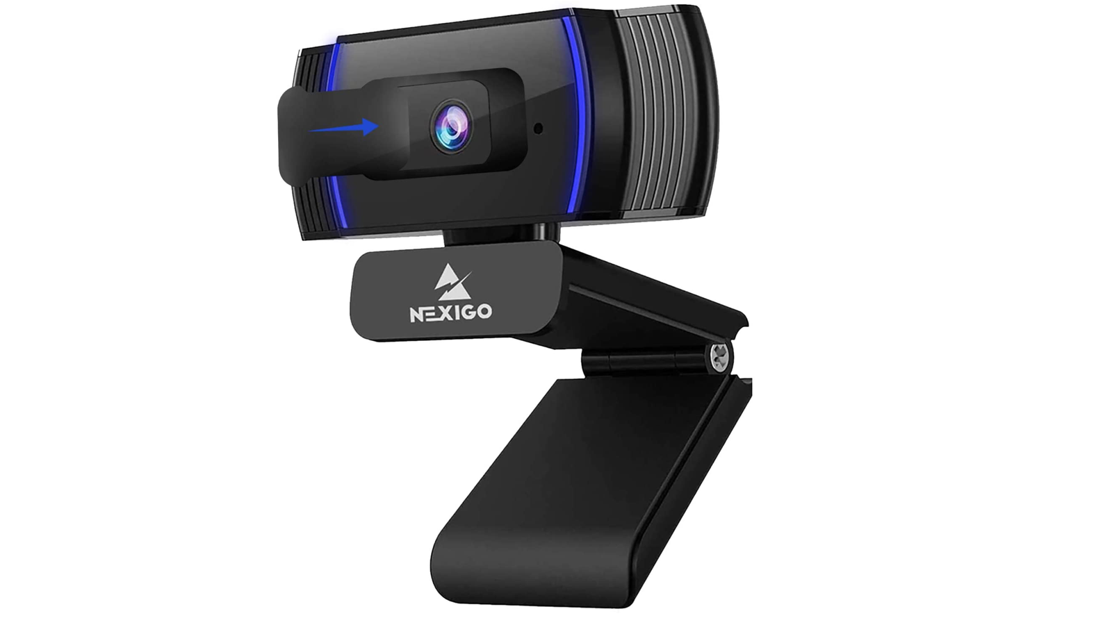 rectangular black webcam with blue accents on a black clip
