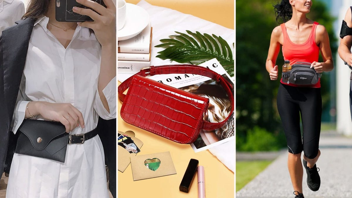 A woman wearing the Rebecca Fanny Pack, the red Badiya waist bag sitting on a table, and a woman running while wearing the Engyen fanny pack.