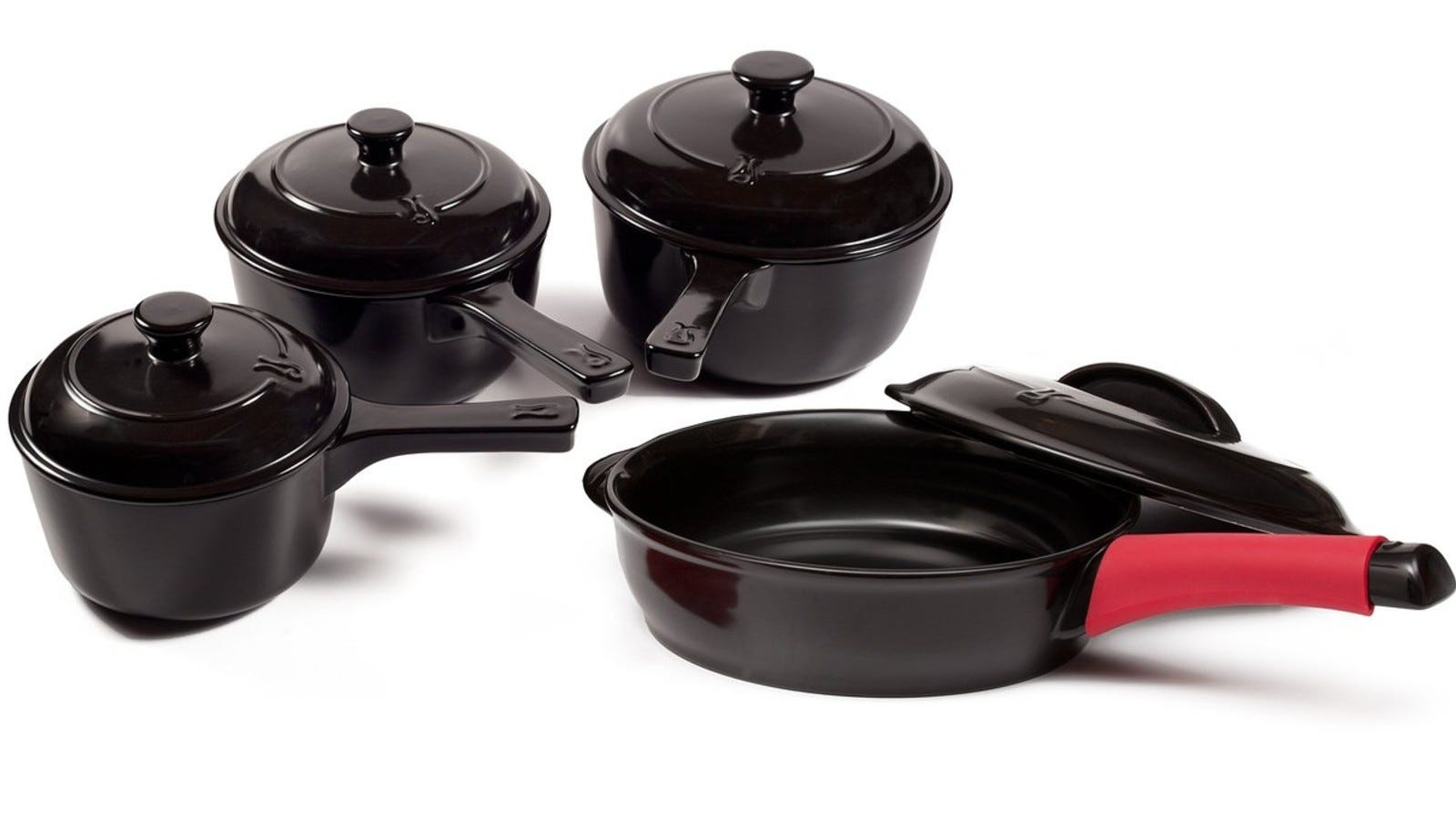 A black ceramic cookware set.