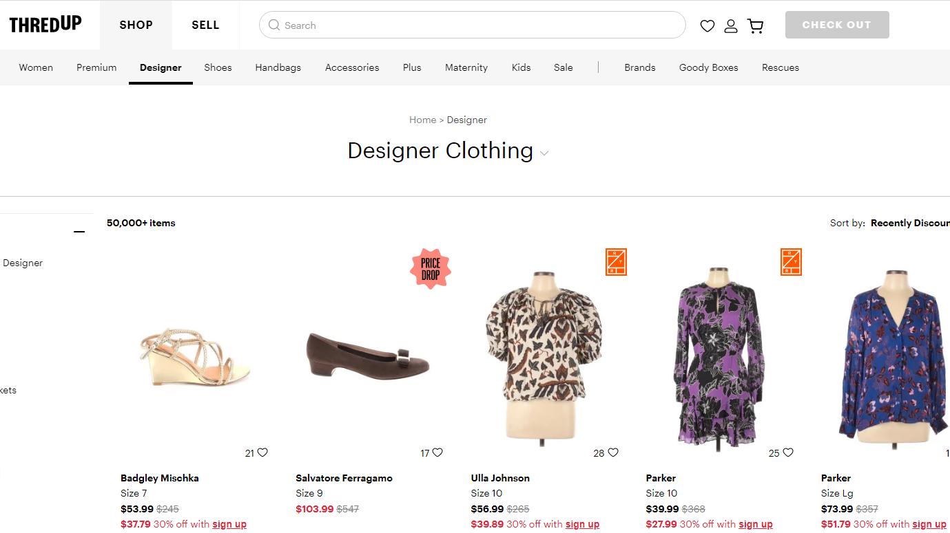 Designer tops and shoes on ThredUp.