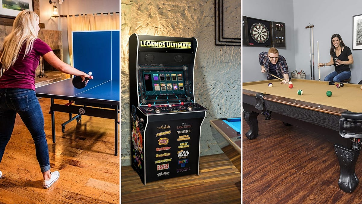 A girl playing ping-pong, a Legends Ultimate arcade game, and two people playing pool.