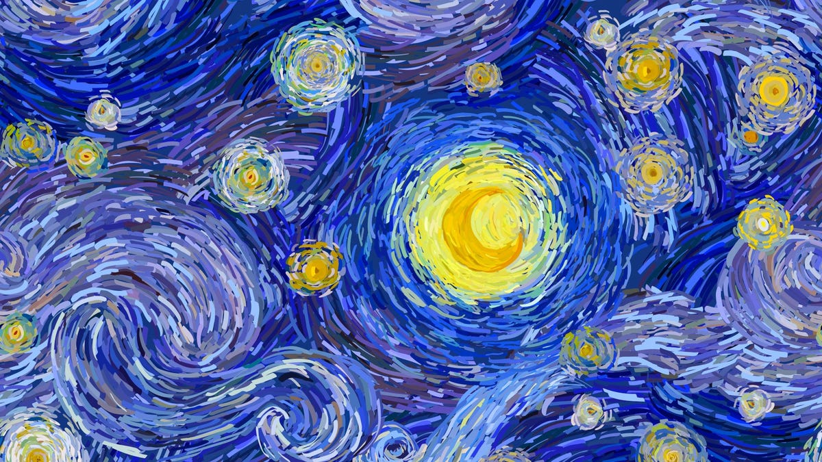 """An artist's copy of """"The Starry Night"""" by Vincent van Gogh."""