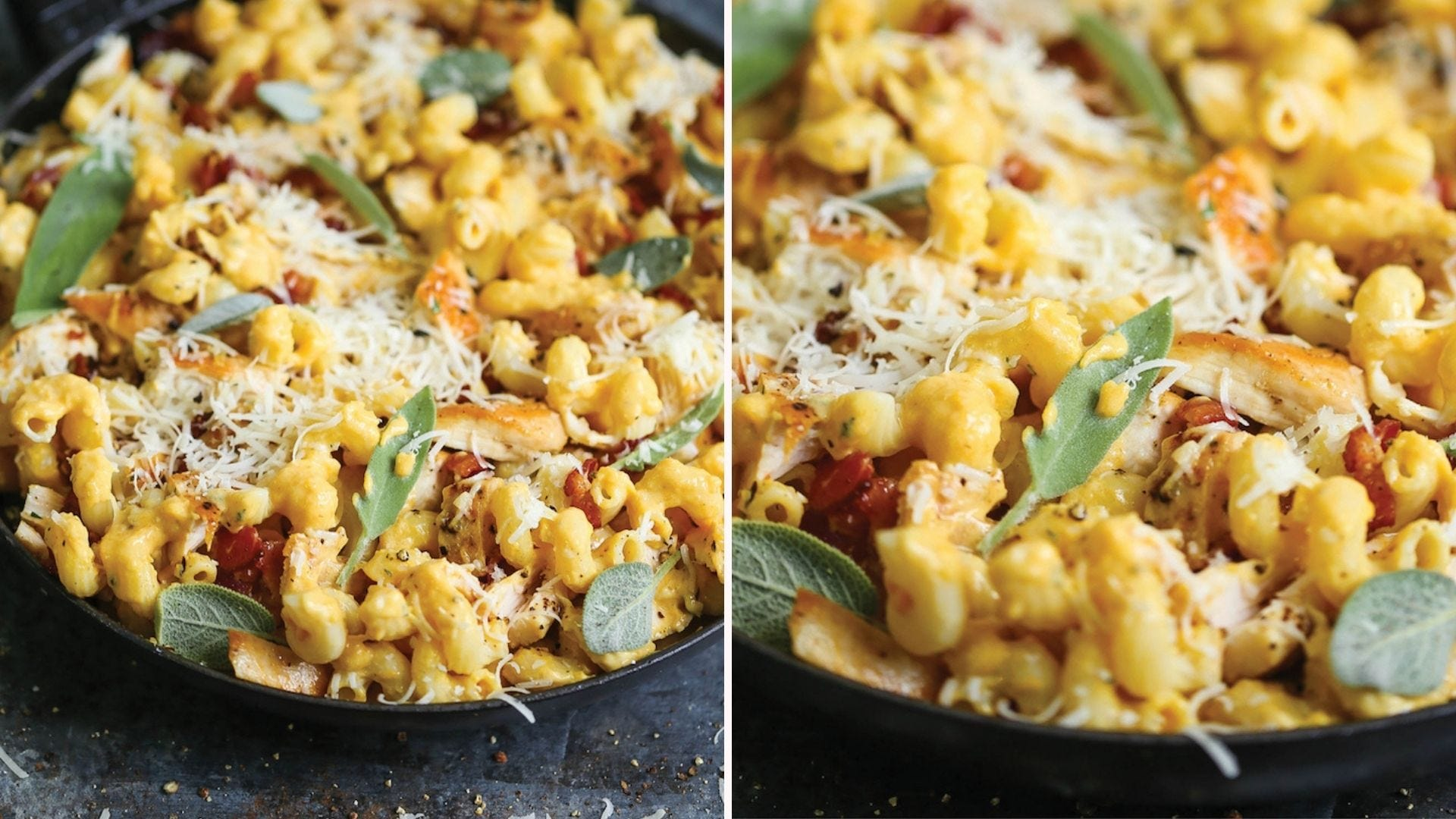 Two side by side images: the left image is of cavatappi pasta coated with a butternut squash alfredo sauce, chopped chicken breast and topped with fresh sage leaves and parmesan cheese. The right image is a close up view of the left image.