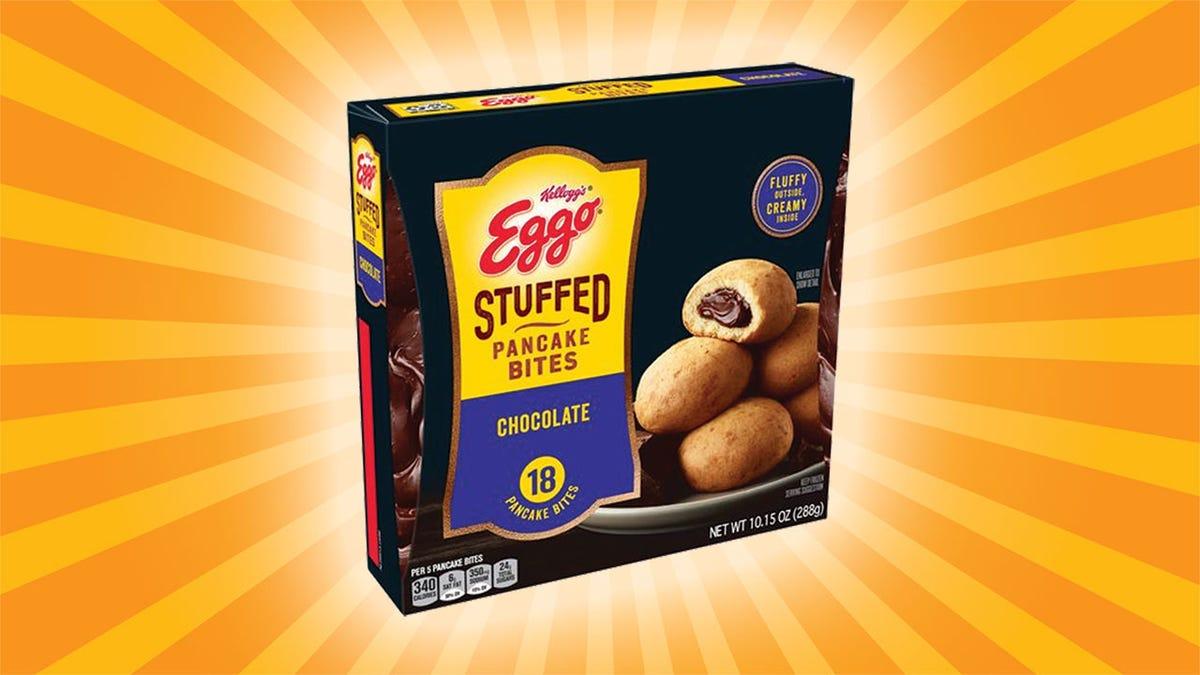 A box of Eggo Stuffed Pancake Bites.