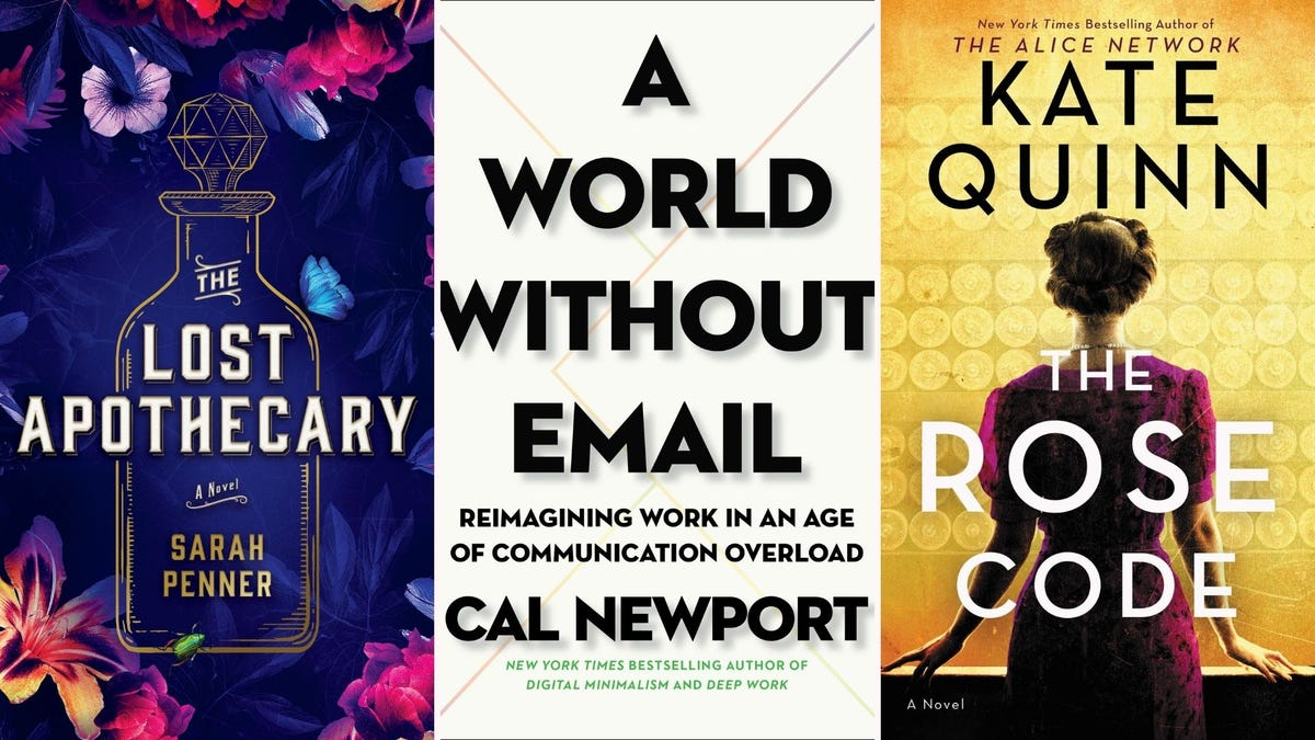 "Book covers for ""The Lost Apothecary,"" ""A World Without Email,"" and ""The Rose Code"""