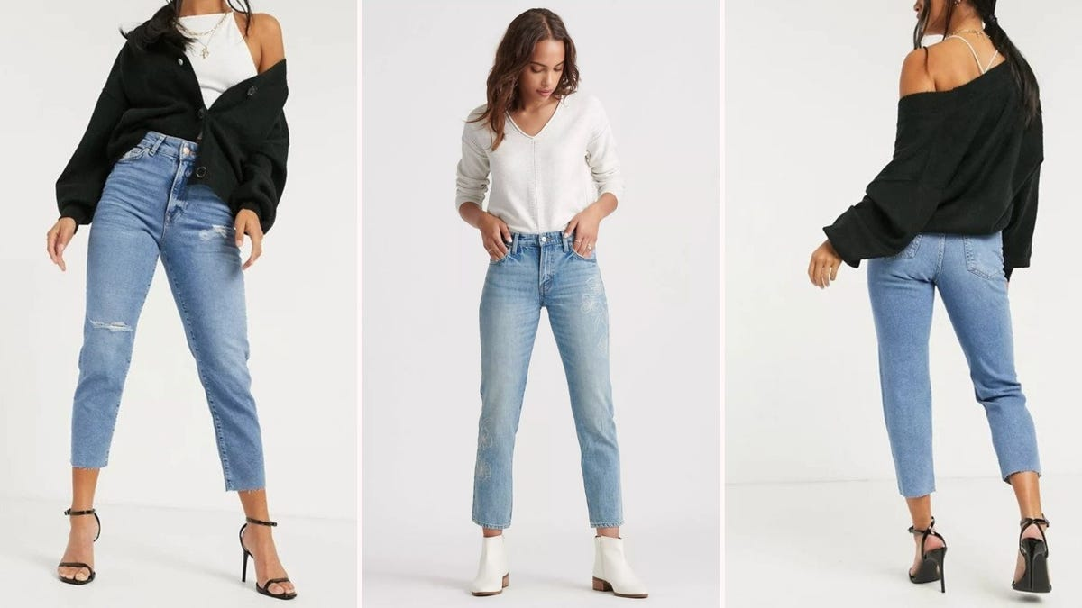 Three women wearing ASOS and Lucky Brand cropped jeans.