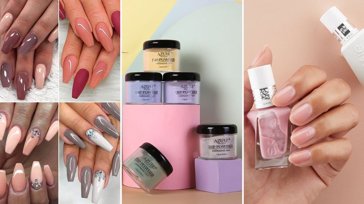 Four sets of hands with long, colored nails, a stack of jars of colored powder, a hand holding a bottle of pink polish