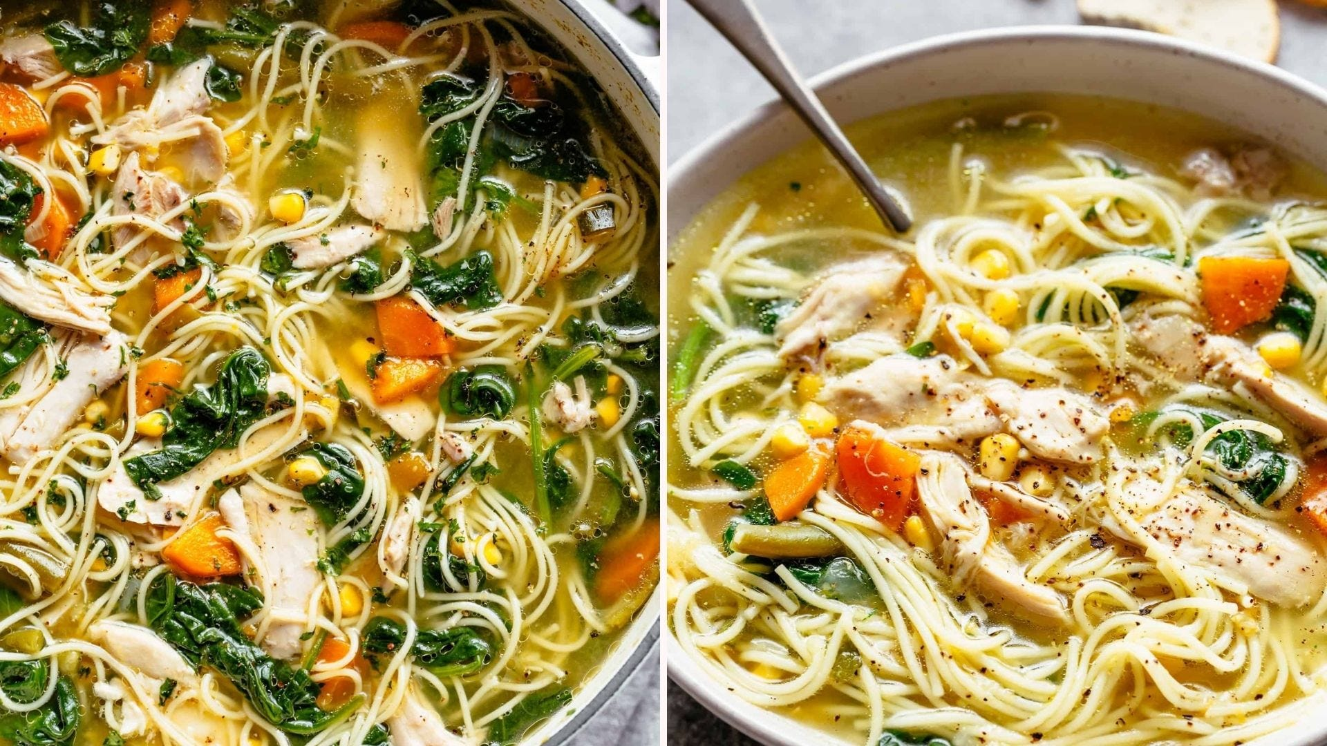 Homemade chicken noodle soup filled with greens, carrots, corn kernels, and chicken.