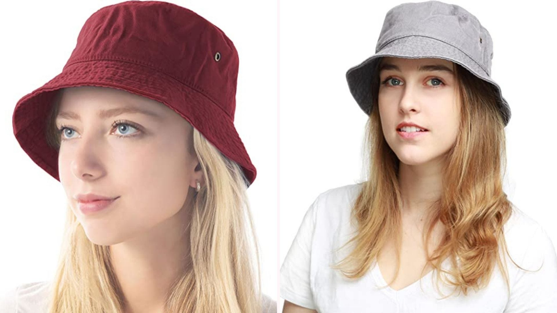 Two women wearing bucket hats - one wearing a berry red hat, one wearing a gray hat