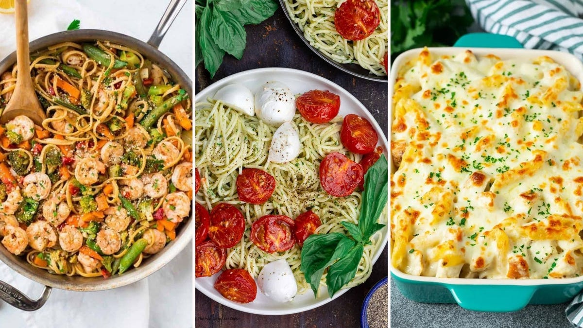 Garlic shrimp pasta, pesto pasta with fresh mozzarella and tomatoes, and Chicken alfredo bake.